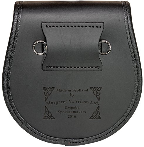Straiton Semi Dress Sporran Fur Plain Leather Flap Scottish Clan Crest
