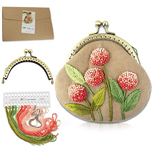Chinese Traditional Embroidery Purse Making Kits Retro Style Handmade Bag Mini Cosmetic Bag for Woman and Girls (511810)
