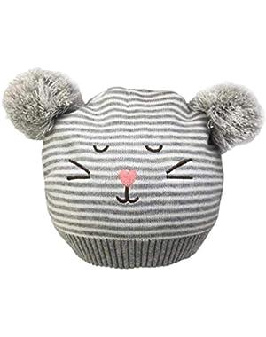 Baby Boys Girls Warm Winter Beanie Knit Caps Toddler Infant Cartoon Cat Cap