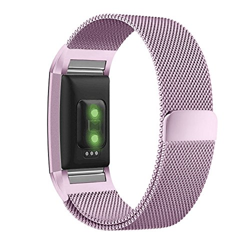 UMTELE for Fitbit Charge 2 Band, Milanese Loop Stainless Steel Metal Bracelet Strap with Unique Magnet Lock, No Buckle Needed for Fitbit Charge 2 HR Fitness Tracker Lavender Small