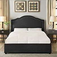 Hampton and Rhodes Felicia Upholstered Platform Bed in Charcoal in Queen