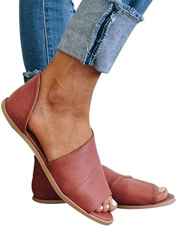 Vectry Retro Mujer Flats Peep Toe Fish Boca Zapatos Tobillo Romano SeñOras Sandalias Botas 2019 Verano Nuevos Zapatos De Mujer