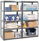 Pack of 2 Garage Racking Shelving Units - UK's Bestselling STORALEX Garage Storage Shelves - Extra Deep 600mm Version - 200kg Per Shelf (Evenly Distributed) - MDF & Metal Boltless Assembly System - 5 Tier Shelf Unit