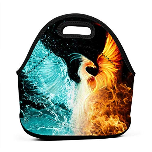 Fashion.Reborn LunchBags Insulated Reusable Lunch Bag Cool Fire Flame Phoenix Bird Lunch Bag Thermal Cooler Lunch Pouch with Portable Carrying