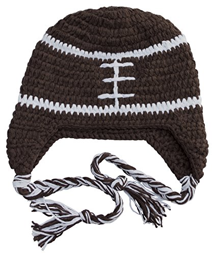 (BePe Baby Infant, Toddler, Little Kids Crochet Character Beanie Brim Tassel Photo Prop Hat - Football - Brown/White - X Small (3-6 Months))