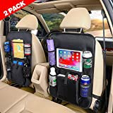 Carisma Car Backseat Organizer with Touch Screen Tablet Holder +Storage Pockets Kick Mats Car Seat Back Protectors Great Travel Accessories for Kids and Toddlers (2 Pack)