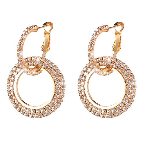 Kanyankeji Fashion Ear-Rings Minimalist Big Circle Round Earrings For Women Elegant Color Geometric Diamond Earrings (Gold)