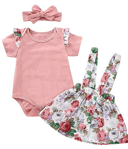 Outfit Set Baby Girls Floral Rose Bodysuit Ruffles Overall Skirt with Headband (Pink, 6-12 - Rose Overall