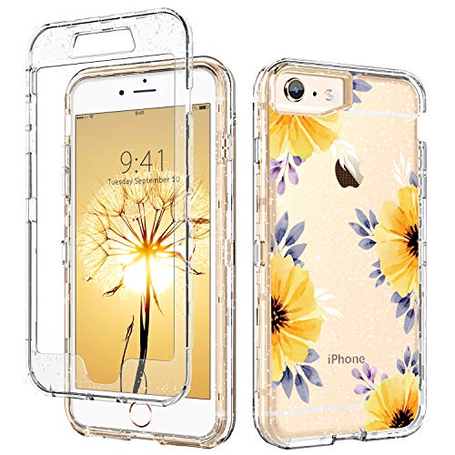 iPhone 6 Case Clear,DUEDUE iPhone 6S Case Floral,3 in 1 Glitter Shockproof Drop Protection Heavy Duty Hybrid Hard PC Transparent TPU Bumper Full Body Protective Case for iPhone 6/6S,Flower (Natural Shell Iphone 6)