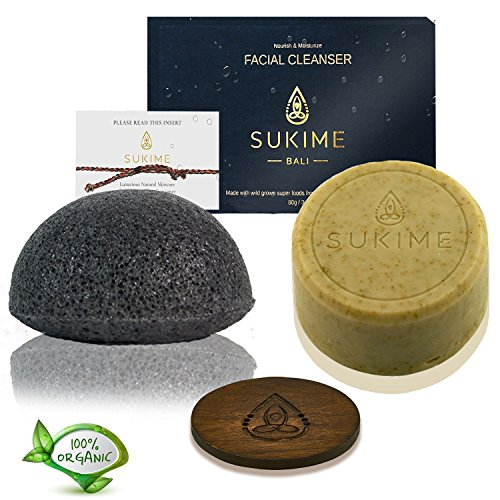 Spa Gift Basket Natural Organic konjac Sponge Moringa Soap Spa Gift Set by Sukime - Coconut Oil Bali Soap and Charcoal Exfoliate Facial Sponge - Improves Skin's Sets for Men and Women