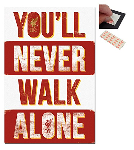 Bundle - 2 Items - Liverpool FC You'll Never Walk Alone Poster - 91.5 x 61cms (36 x 24 Inches) and a Set of 4 Repositionable Adhesive Pads For Easy Wall Fixing