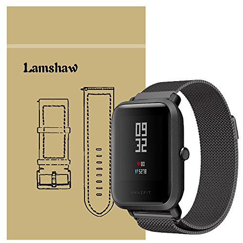 for Xiaomi Amazfit Bip Band, Lamshaw Milanese Magnetic Loop Stainless Steel Mesh Replacement Strap for Xiaomi Huami Amazfit Bip Younth Watch (Wrist (6.5-9) Black)