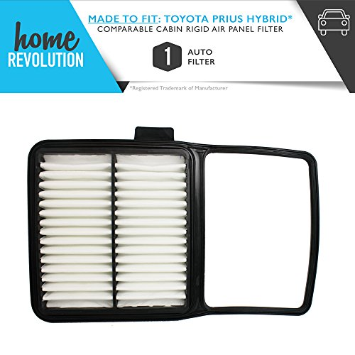 Toyota Part # A25698 and CA10159 for Toyota Prius Hybrid: 4-1.5L F/INJ 16V DOHC 1NZ-FXE 2009-2004, Comparable Cabin Rigid Air Panel Filter. A Home Revolution Brand Quality Aftermarket Replacement