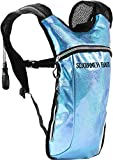 Sojourner Hydration Pack Backpack – 2L Water Bladder Included for Festivals, Raves, Hiking, Biking, Climbing, Running and More (Glitter – Light Blue) For Sale