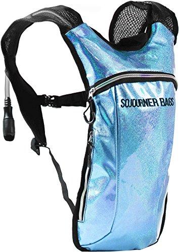 Sojourner Hydration Pack Backpack - 2L Water Bladder Included for Festivals, Raves, Hiking, Biking, Climbing, Running and More (Glitter - Light Blue)