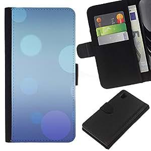 KingStore / Leather Etui en cuir / Sony Xperia Z1 L39 / Extracto púrpura azul Burbujas en colores pastel