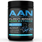 AAN Natural Plant-Based BCAA Powder Drink - Vegan Friendly, Fermented Branch Chain Amino Acids, Citrulline Malate, Beta-Alanine - Pre and Post Workout Protein (30 Servings, Blue Razzberry)