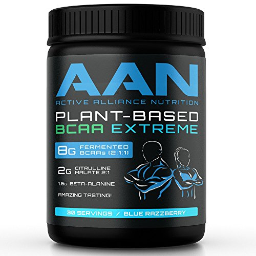 Aan Natural Plant Based Bcaa Powder Drink   Vegan Friendly  Fermented Branch Chain Amino Acids  Citrulline Malate  Beta Alanine   Pre And Post Workout Protein  30 Servings  Blue Razzberry