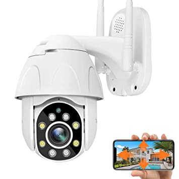 Detecci/ón de Movimiento Camara WiFi Exterior Impermeable IP66 con Audio de Dos V/ías PTZ Camara Vigilancia Visi/ón Nocturna Notificaci/ón de Alarma 355/° Pan//90/° Tilt