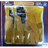 Wells Lamont Premium Leather Work Gloves 3 Pair Pack Medium