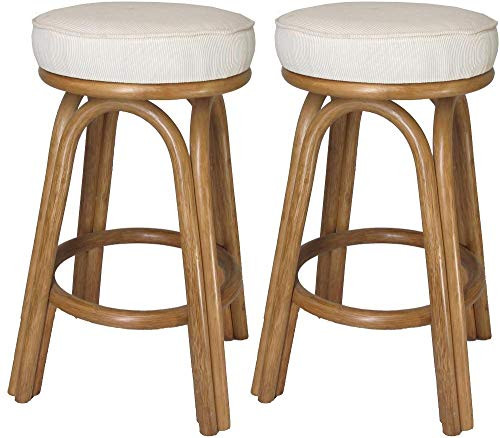 - Assembled in USA Rattan Backless Bar & Counter Stools (Set of 2) (#4208H-DN) (26