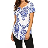 Womens Shirt Summer Print Short Sleeve V-Neck Pleated Casual Flare Tunic Blouse