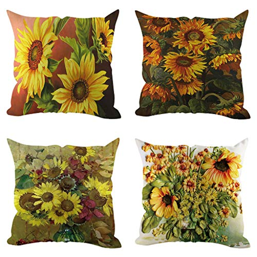 WWFFOO Set of 4 Summer Series Sunflower Pattern Throw Pillow Case Coffee Shop Sofa Home Decorative Cushion Cover 18