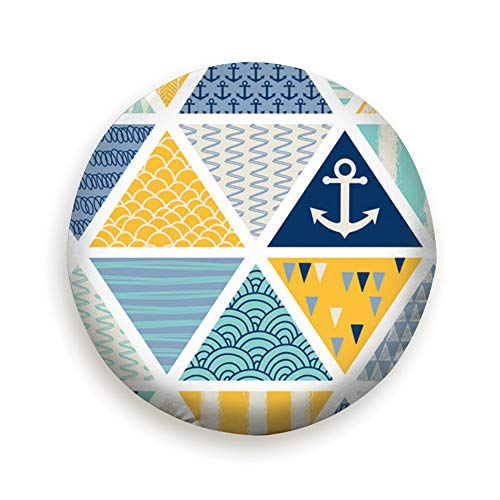 Nautical Elements Patchwork Tiles Anchor Spare Tire Cover, Waterproof Dust-Proof Thicken Wheel Protectors Covers Fit 14-17 Inch 17inch