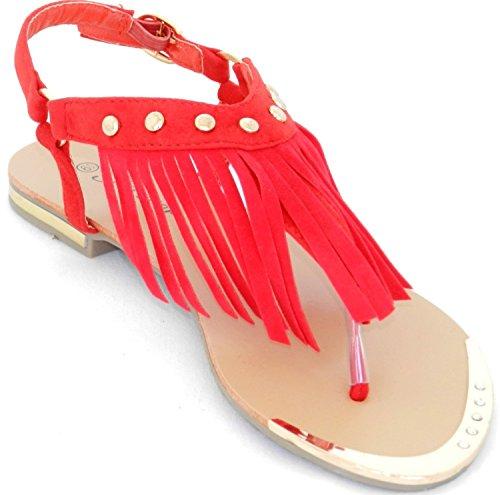 Nieuwe Nieuwste Mode Fringe Bezaaid Achter Zip Enkel Cuf Tyler-27 Platte Sandaal Rood