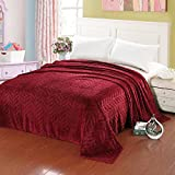 bed bath n more Micro Fleece Plush Leaf-Etched Blanket Red King For Sale