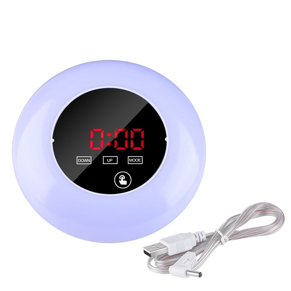 Digital USB Clock,Round Mirror Surface Colorful LED Indoor Thermometer Touch Screen Desk Table Alarm Clocks Automatically Night Light with USB Cable for Home,Office,Living room,Study,Bedroom,Kitchen(Blue) Zerodis