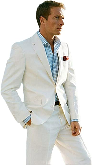 Ivory Beach Wedding 2 Piece Suit For Men Two Button Mens Suits At Amazon Men S Clothing Store
