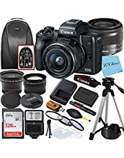 $704 » Canon EOS M50 Mirrorless Vlogging Digital Camera with EF-M 15-45mm is STM Zoom Lens + SanDisk 128GB Memory Card + Tripod + Case + Wideangle Lenses + ZeeTech Accessory Bundle (20pc Bundle)
