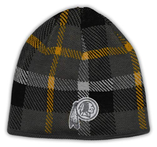 (Reebok Washington Redskins NFL Team Apparel Gray Plaid Knit Beanie Hat)