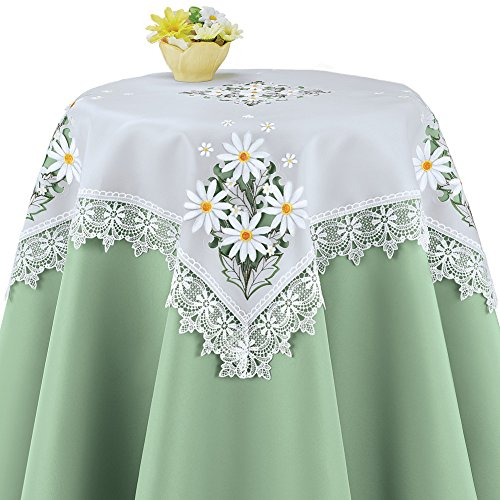 Collections Embroidered Daisy Lace Vintage Look Floral Table Linens, Square