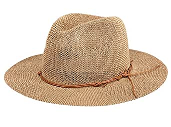 Aieoe Women UPF 50 Protection Straw Hat Girls Big Brim Floppy Beachwear Cap - Brown