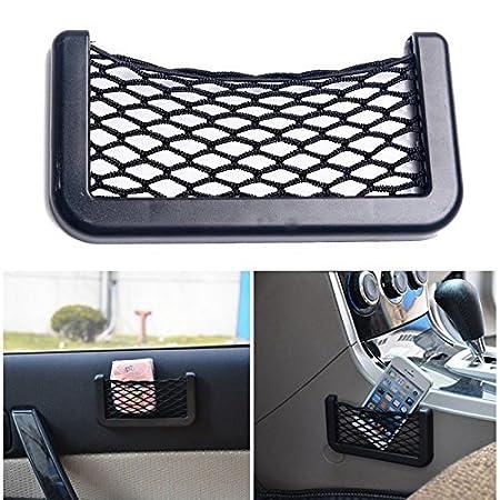 1fc4021a3785f6 Kuber Industries Car accessories || Mobile phone car holder || Universal  Car Net Holder Phone Holder Pocket Organizer String Bag (Black)-KI3260: ...