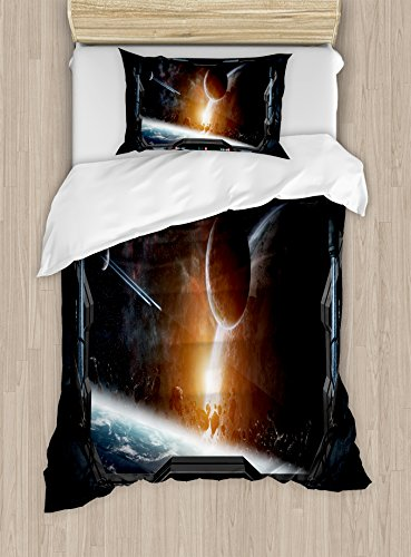 Ambesonne Outer Space Duvet Cover Set Twin Size, Scenery of Planets from The Window of a Shuttle Bodies Astronaut Space Station, Decorative 2 Piece Bedding Set with 1 Pillow Sham, Gray Orange by Ambesonne (Image #2)