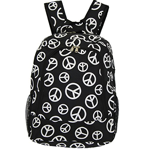 World Traveler Multipurpose Backpack 16-Inch, Black White Mix Peace Sign, One (Peace World Peace Sign)