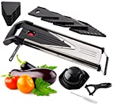 Chef Grids V-Blade Stainless Steel Mandoline Slicer | Dicing, Grating, Julienne Cutting & More | Ergonomic Handle & Foldable Feet For Sturdy Use | Bonus Peeler & Cleaning Brush