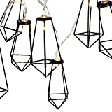 Lewondr String Lights Geometric Black Diamond LED Metal Fairy Lights 3m/9.8ft 20 LED USB & Battery Powered Twinkle Lights for Bedroom Wedding Christmas Home Decoration - Warm White