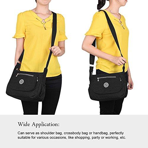 Vbiger Bolso bandolera Impermeable Bolso de Hombro a la Moda de Cuerpo Bolso para las Mujeres (Púrpura) Negro-1