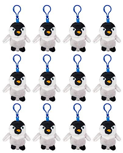(Wildlife Tree 12 Pack Penguin Stuffed Animal, Backpack Clip Toy Keychain, 4 Inch Plush Kids Party)