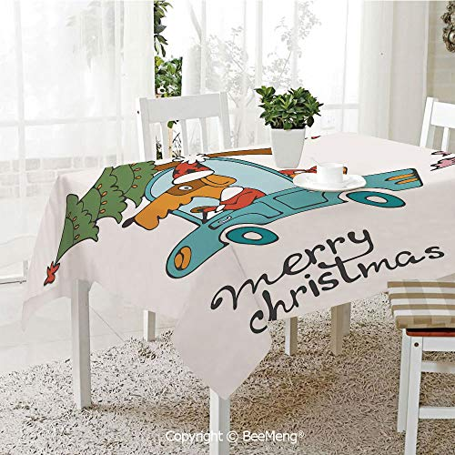 BeeMeng Large dustproof Waterproof Tablecloth,Family Table Decoration,Christmas,Blue Vintage Car Dog Driving with Santa Costume Cute Bird Tree and Gift Present,White Multi,70 x 104 inches ()