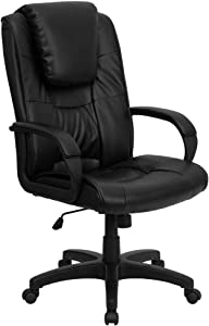 Flash Furniture High Back Black LeatherSoft Executive Swivel Office Chair with Oversized Headrest and Arms