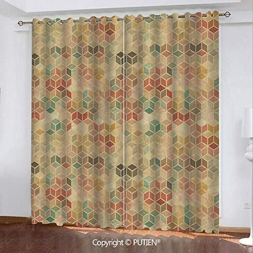 Satin Grommet Window Curtains Drapes [ Geometric,Soft Toned Retro Inspired Cube Pattern with Squares and Lines Vintage Old School,Multicolor ] Window Curtain for Living Room Bedroom Dorm Room Classroo