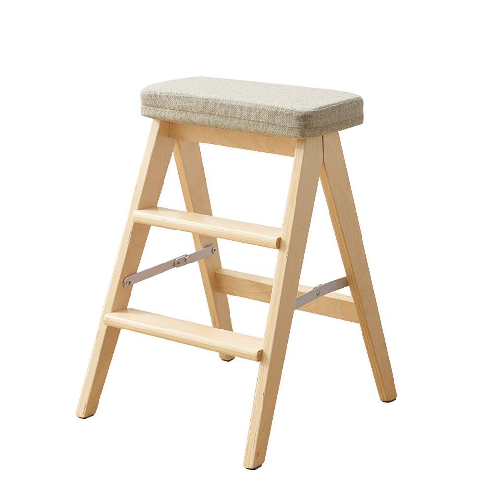 WSSF- ソリッドウッド折りたたみステップラダースツールポータブル家庭用多機能キッチン高いベンチ踏み台スツールウッドカラー、高さ64cm (色 : #2) B07DL6WCT7 #2 #2