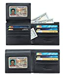 Travelambo Genuine Leather RFID Blocking Wallets Mens Wallet Bifold (2 ID Window Napa Black)