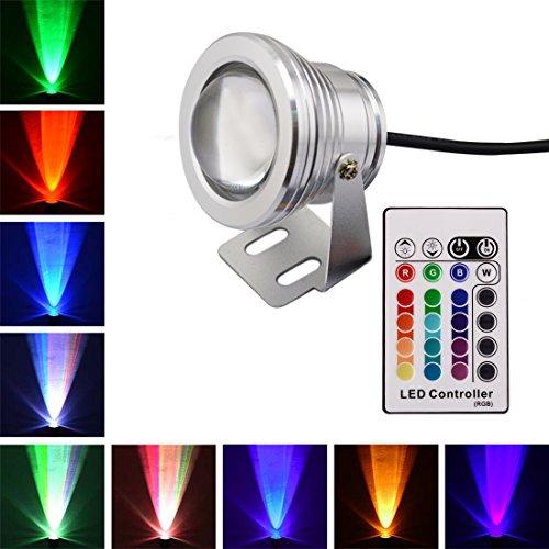 LONOVE RGB LED Underwater Spotlight 10W Multi-color AC DC12V 24V Silver Case