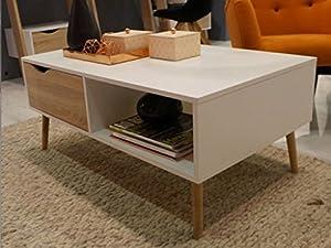 Modern Retro Style 60s 70s Coffee Table with drawer DELTA white/sonoma oak